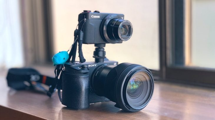 α6500のホットシューにコンデジを載せて写真と動画を同時撮影!
